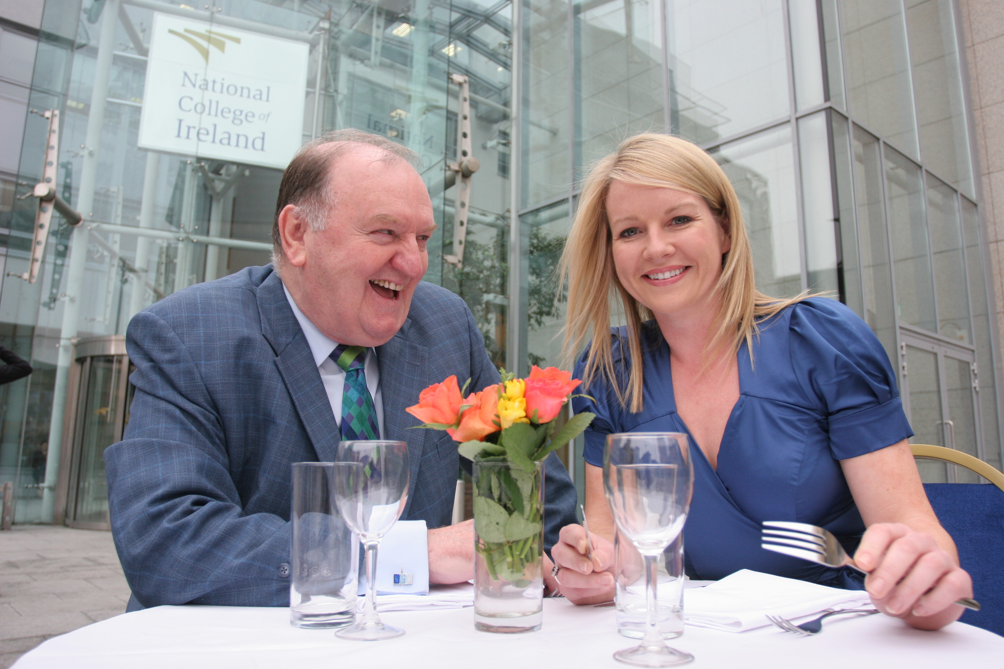 George Hook with Claire Byrne at National College of Ireland