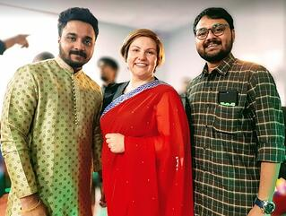 Ellen from the International Team with Indian Students at the Diwali Celebration